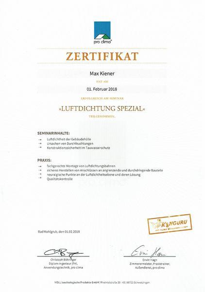 Luftdichtung Zertifikat